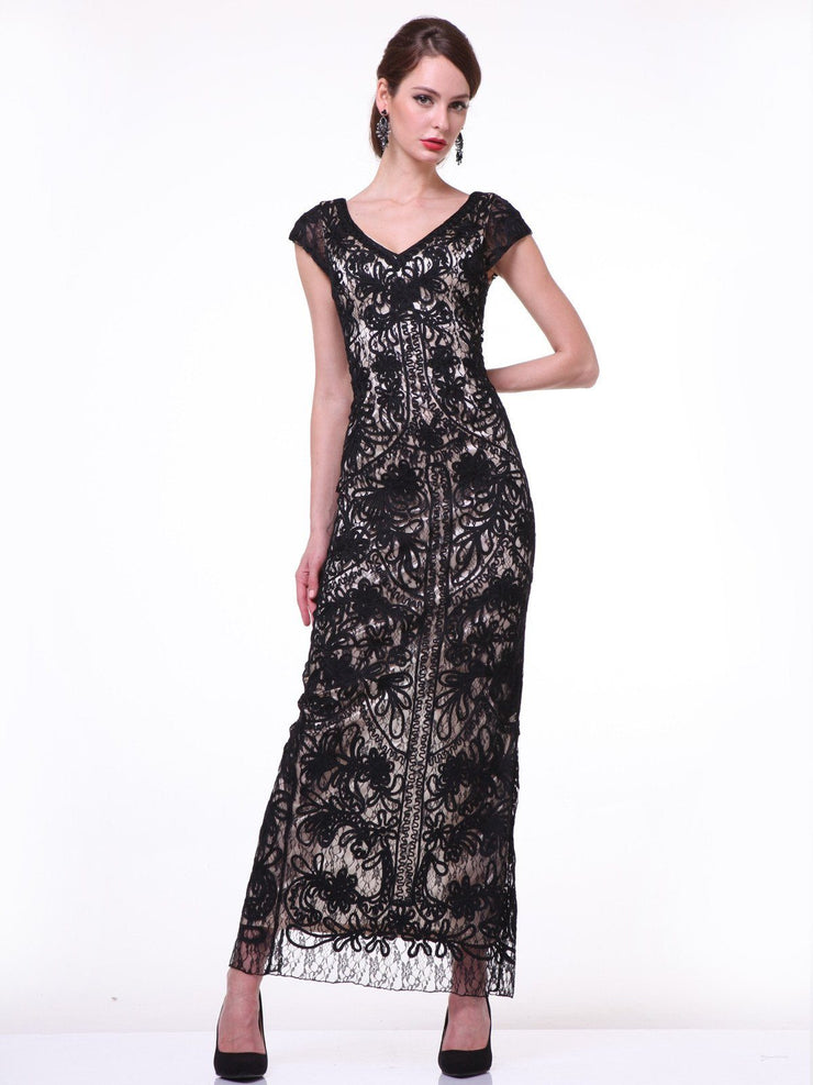Cap Sleeve V-Neck Long Lace Dress by Cinderella Divine 1937-Long Formal Dresses-ABC Fashion