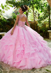 Cap Sleeve V-Neck Quinceanera Dress by Mori Lee Vizcaya 89253-Quinceanera Dresses-ABC Fashion