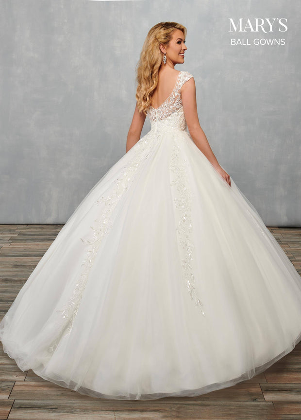 Cap Sleeve Wedding Ball Gown by Mary's Bridal MB6070