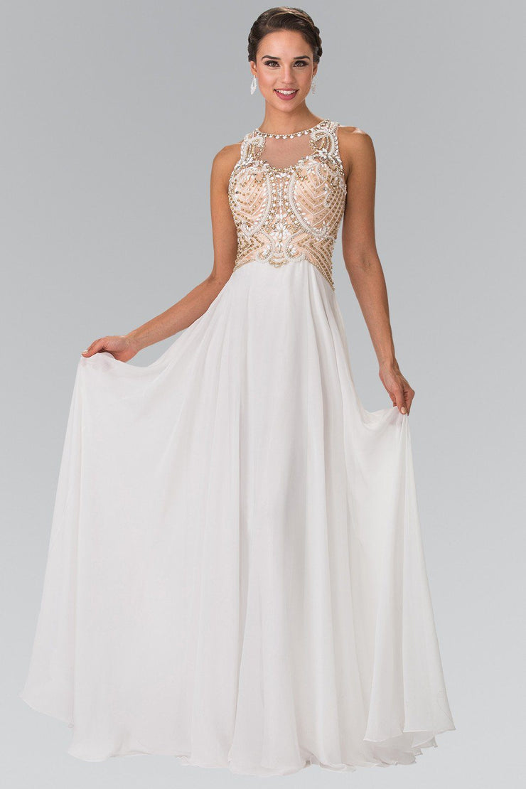 Champagne Beaded Illusion Dress by Elizabeth K GL2295-Long Formal Dresses-ABC Fashion