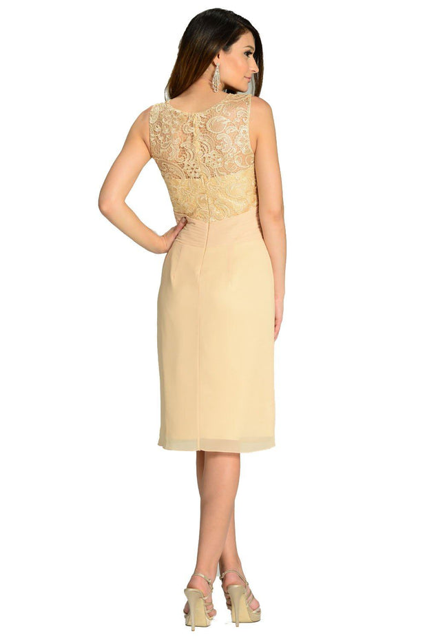 Champagne Knee Length Chiffon Dress with Lace Top by Poly USA-Short Cocktail Dresses-ABC Fashion