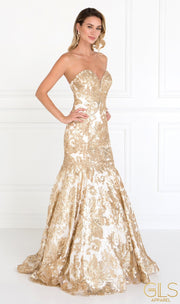 Champagne Sequined Strapless Trumpet Dress by Elizabeth K GL1508-Long Formal Dresses-ABC Fashion