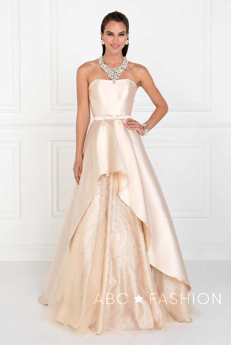 Champagne Strapless Mikado Gown by Elizabeth K GL2429-Long Formal Dresses-ABC Fashion