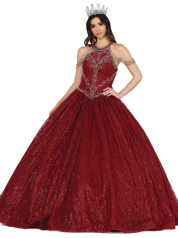 Chandelier Sleeve Glitter Ball Gown by Dancing Queen 1420