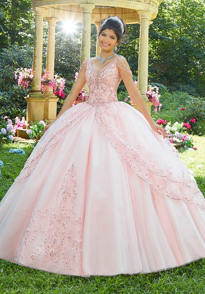 Chandelier Sleeve Quinceanera Dress by Mori Lee Vizcaya 89274-Quinceanera Dresses-ABC Fashion