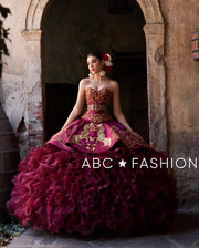 Charro Strapless Quinceanera Dress by Ragazza Fashion M21-121