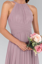 Chiffon High-Neck Ruched Long Mauve Dress by Elizabeth K GL1524-Long Formal Dresses-ABC Fashion