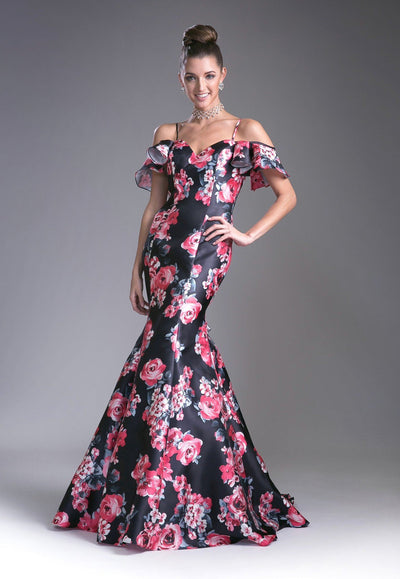 Cold Shoulder Floral Print Mermaid Gown by Cinderella Divine 13043-Long Formal Dresses-ABC Fashion