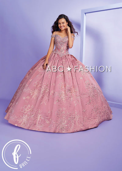 Cold Shoulder Floral Print Quinceanera Dress by Forever Quince FQ829