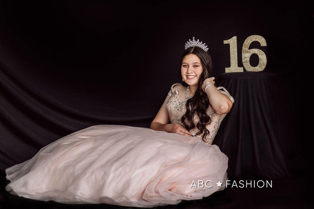Cold Shoulder Glitter Quinceanera Dress by Fiesta Gowns 56377-Quinceanera Dresses-ABC Fashion
