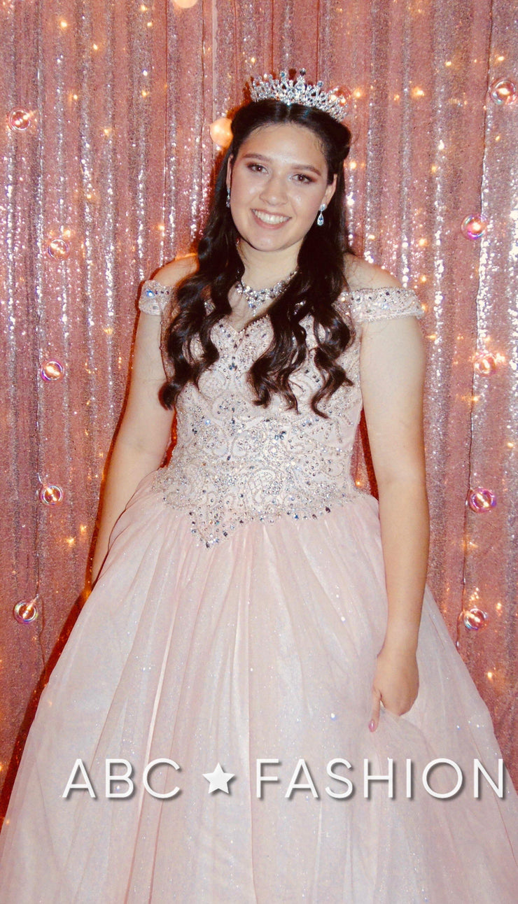 Cold Shoulder Glitter Quinceanera Dress by Fiesta Gowns 56377 (Size 12 - 22)-Quinceanera Dresses-ABC Fashion