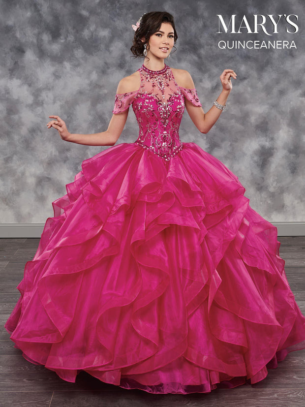 Cold Shoulder Halter Quinceanera Dress by Mary's Bridal MQ2034-Quinceanera Dresses-ABC Fashion