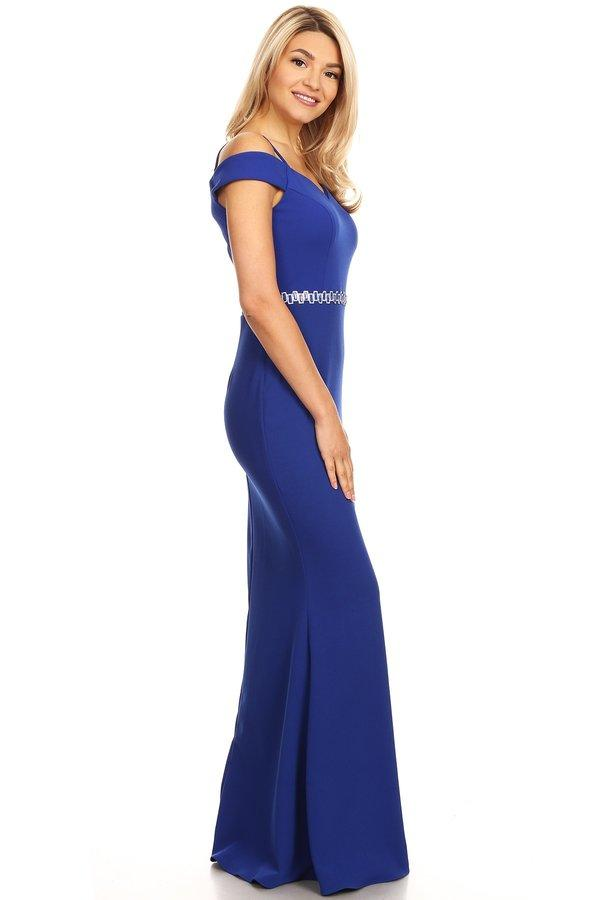 Cold Shoulder Long Mermaid Dress with Jeweled Waistband by Celavie 6395-Long Formal Dresses-ABC Fashion