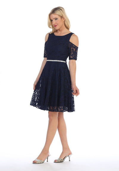 Cold Shoulder Short Lace Dress with Short Sleeves by Celavie 6307-Short Cocktail Dresses-ABC Fashion