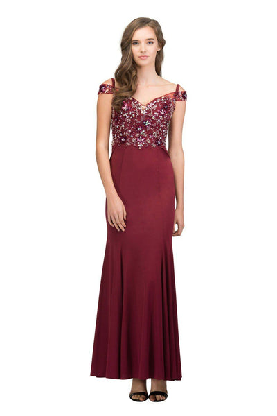 Cold Shoulder Trumpet Dress with Beaded Top by Star Box 17403-Long Formal Dresses-ABC Fashion