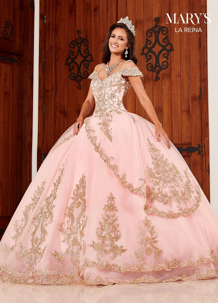 Cold Shoulder Tulle Quinceanera Dress by Mary's Bridal MQ2094-Quinceanera Dresses-ABC Fashion