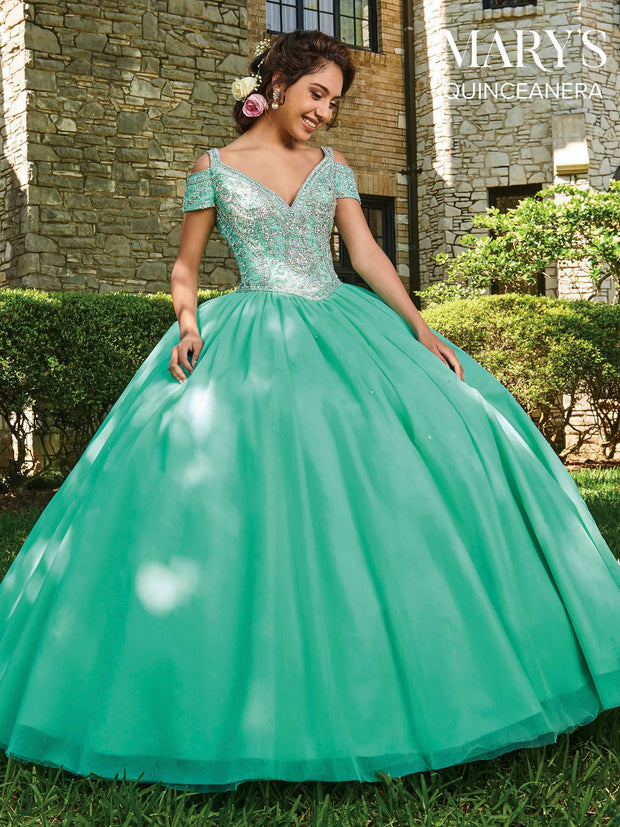 Cold Shoulder V-Neck Quinceanera Dress by Mary's Bridal MQ2026-Quinceanera Dresses-ABC Fashion