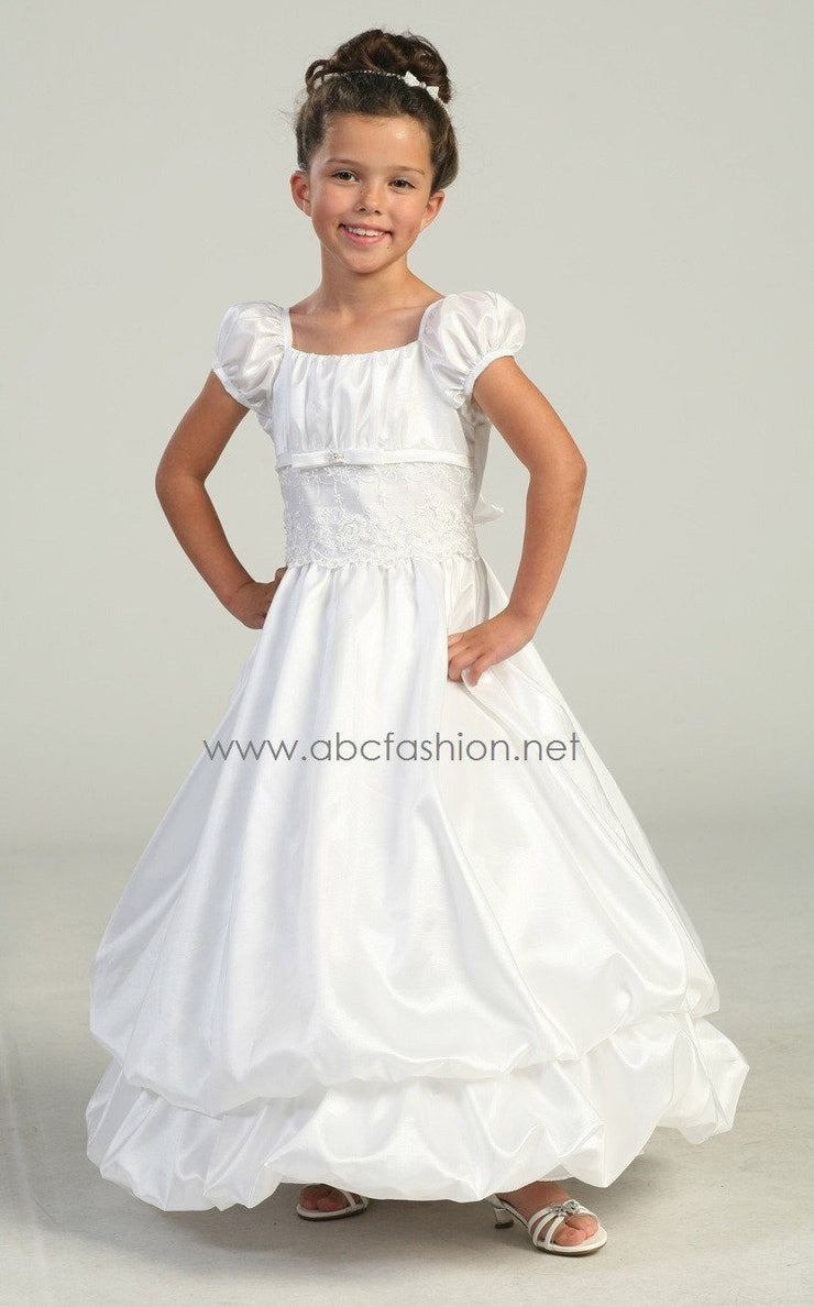 Communion Dress - Satin Bodice with Bubble Skirt-Girls Formal Dresses-ABC Fashion