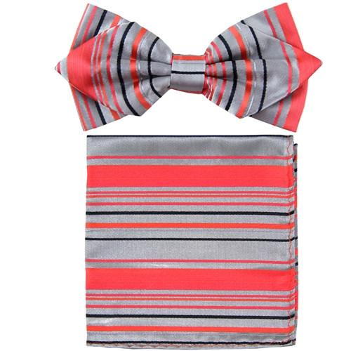 Coral Striped Bow Tie with Pocket Square (Pointed Tip)-Men's Bow Ties-ABC Fashion