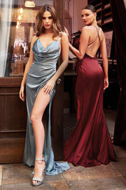 Cowl Satin Fitted Gown by Cinderella Divine 7479