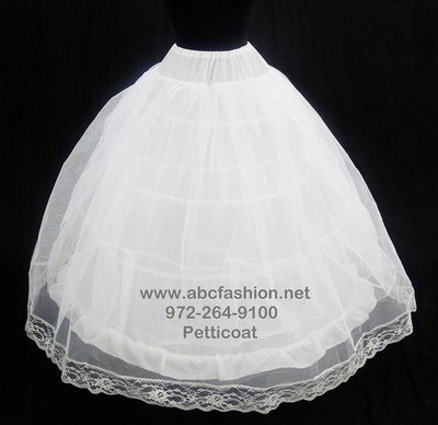 Crinoline Petticoat with 4 Hoops and 2 Layers-Quinceanera Dresses, Packages, and Accessories-ABC Fashion