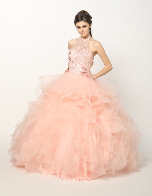 Crystal Beaded High Neck Ball Gown with Ruffled Skirt by Juliet 1420-Quinceanera Dresses-ABC Fashion