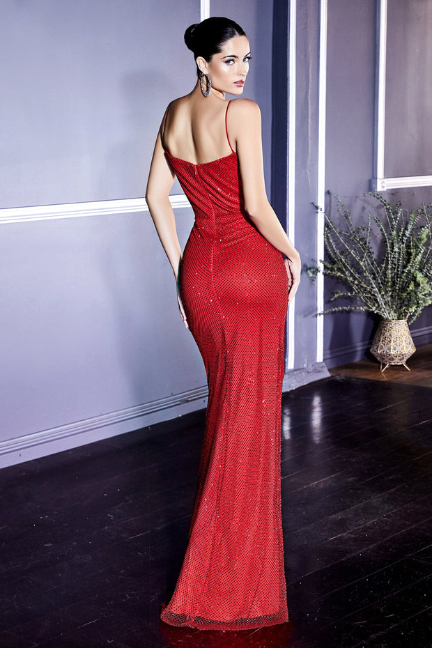 Crystal Beaded Red Gown by Cinderella Divine CD218