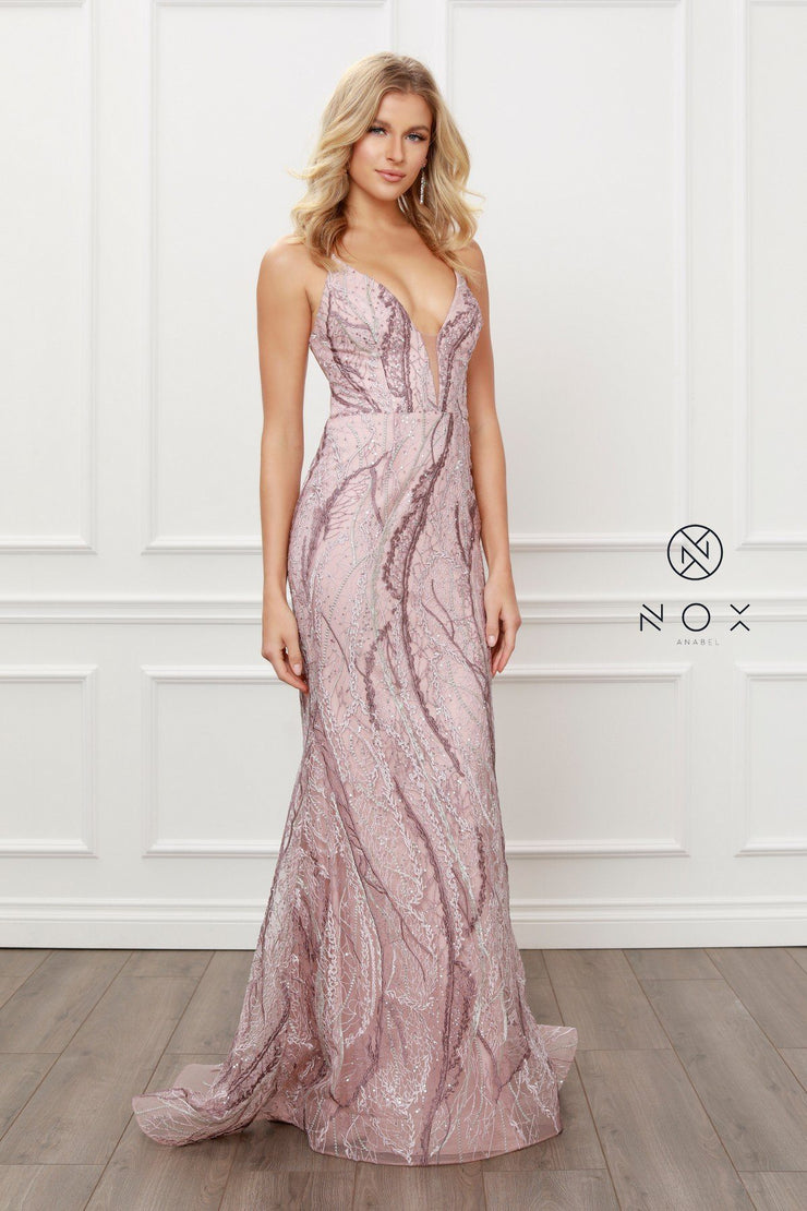 Deep V-Neck Corset Back Gown by Nox Anabel Y408