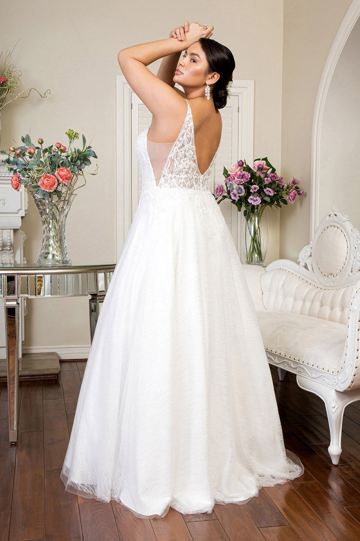Deep V-Neck Glitter Wedding Dress by Elizabeth K GL1915