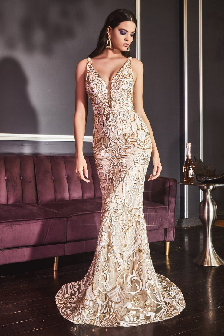 Deep V-Neck Mermaid Gown by Cinderella Divine CD934