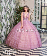Deep V-Neck Tiered Quinceanera Dress by Forever Quince FQ791-Quinceanera Dresses-ABC Fashion