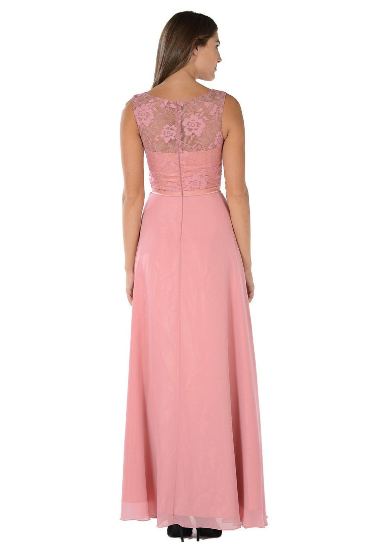 Dusty Rose Long Lace Bodice Dress with Bolero Jacket by Poly USA-Long Formal Dresses-ABC Fashion