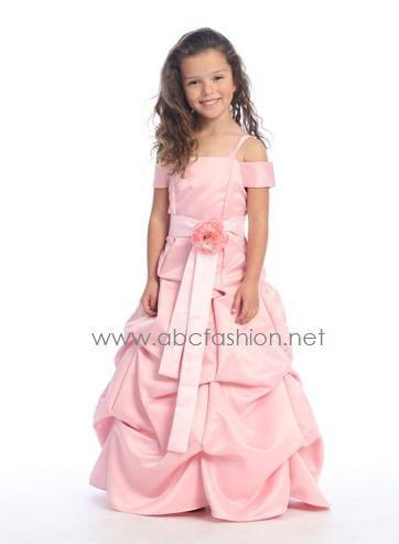 Dusty Rose Satin Pick Up Dress with Pink Sash-Girls Formal Dresses-ABC Fashion