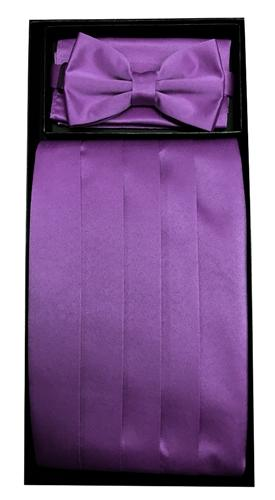 Eggplant Poly Satin Cummerbund, Bow Tie, and Hanky Set-Men's Cummerbund-ABC Fashion