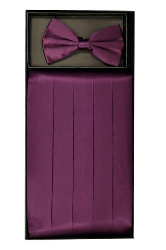 Eggplant Silk Satin Cummerbund and Bow Tie Set-Men's Cummerbund-ABC Fashion