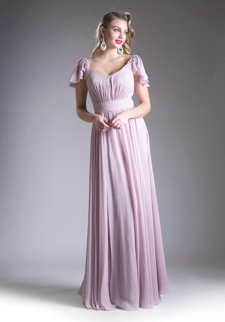 Elegant Long Dress with Flutter Sleeves by Cinderella Divine 1002-Long Formal Dresses-ABC Fashion