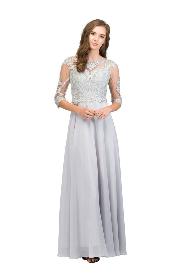 Embellished Bodice Long Dress with Sheer Sleeves by Star Box 81032-Long Formal Dresses-ABC Fashion