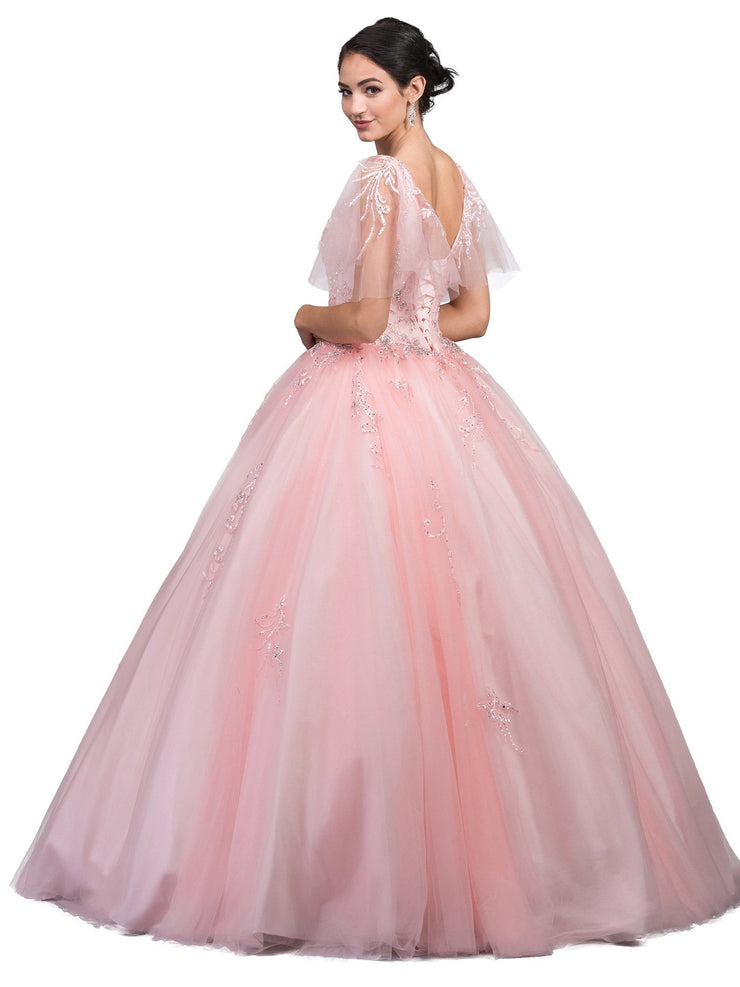 Embellished Butterfly Sleeve Ball Gown by Dancing Queen 1203-Quinceanera Dresses-ABC Fashion