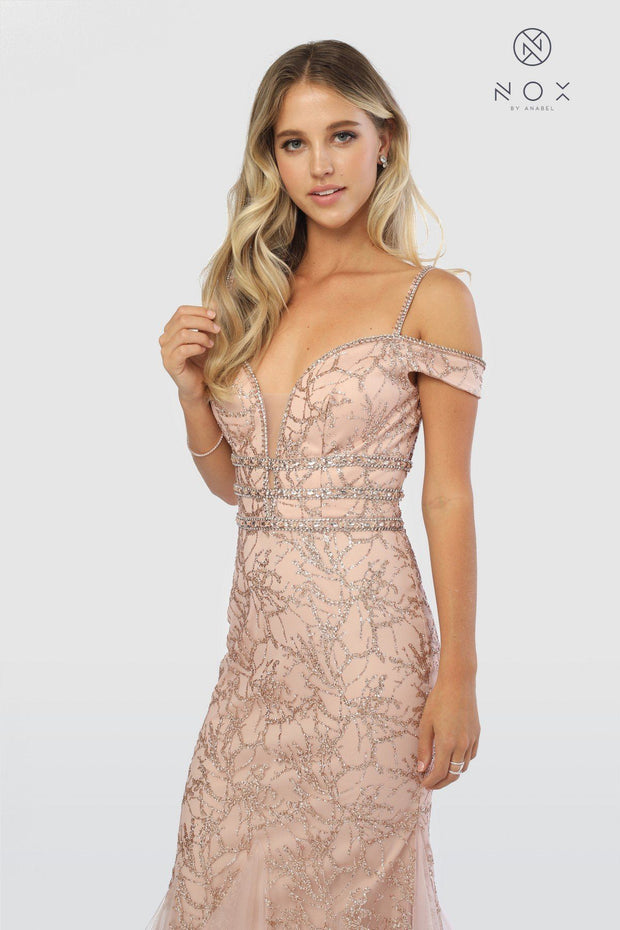 Embellished Cold Shoulder Long Mermaid Dress by Nox Anabel S268-Long Formal Dresses-ABC Fashion