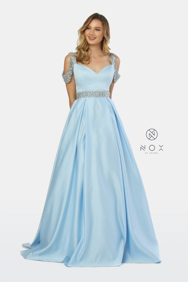 Embellished Cold Shoulder Long Sweetheart Dress by Nox Anabel R224-Long Formal Dresses-ABC Fashion