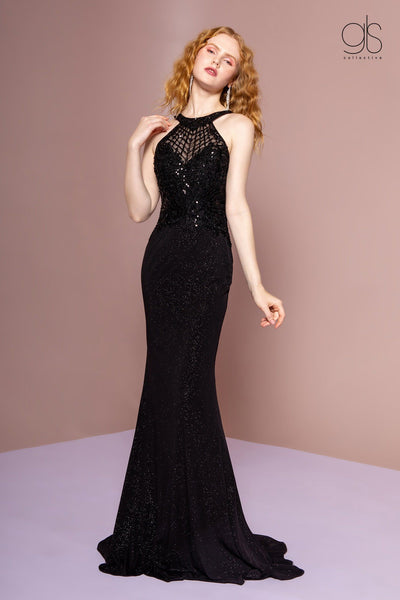 Embellished Halter Trumpet Dress With Train by Elizabeth K GL2695-Long Formal Dresses-ABC Fashion