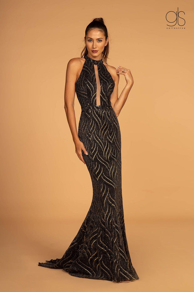 Embellished High Halter Glitter Mermaid Dress by Elizabeth K GL2659-Long Formal Dresses-ABC Fashion