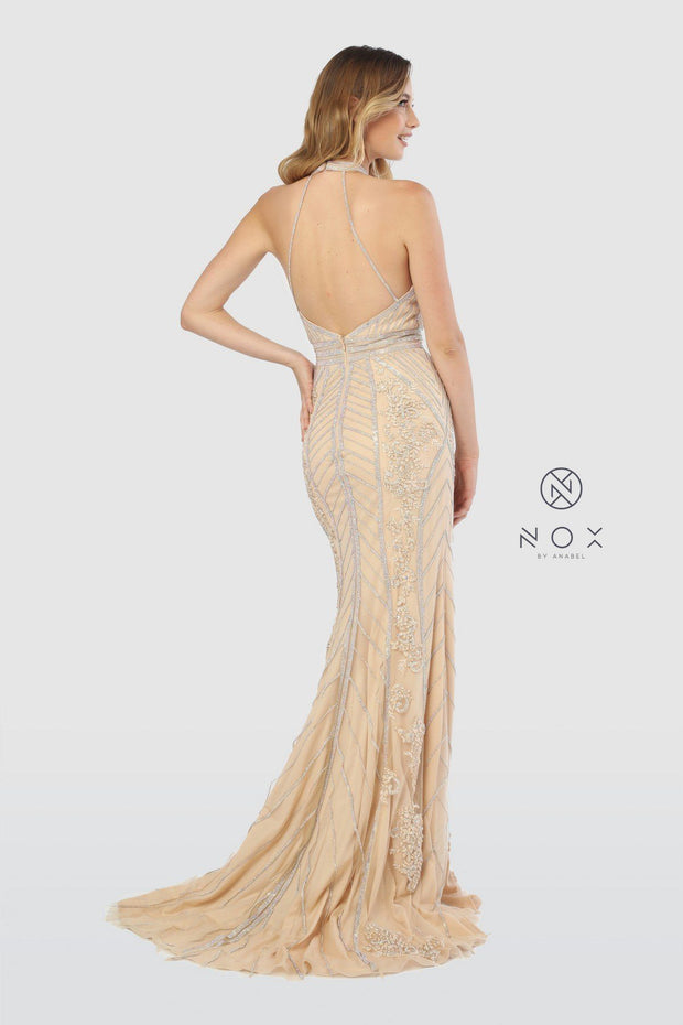 Embellished High Halter Trumpet Dress by Nox Anabel T260-Long Formal Dresses-ABC Fashion