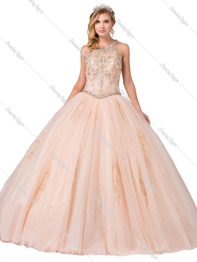 Embellished High-Neck Glitter Ball Gown by Dancing Queen 1346-Quinceanera Dresses-ABC Fashion