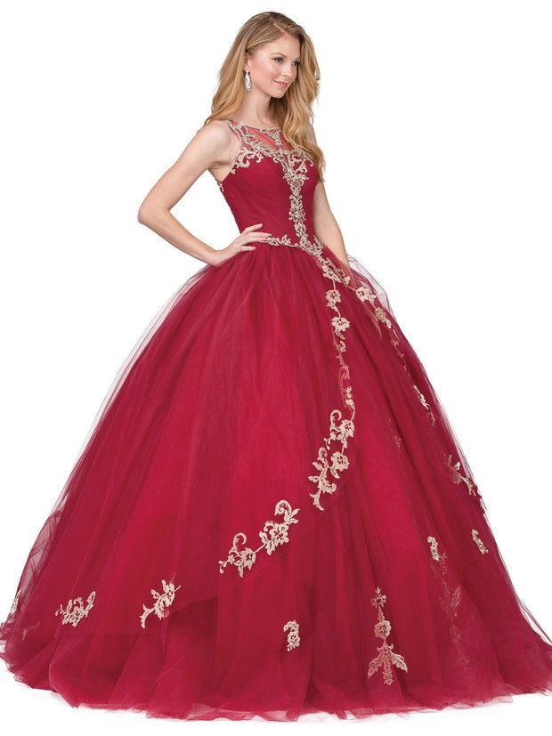 Embellished Illusion Pleated Ball Gown by Dancing Queen 1225-Quinceanera Dresses-ABC Fashion