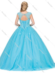 Embellished Lace Illusion Ball Gown by Dancing Queen 1223-Quinceanera Dresses-ABC Fashion