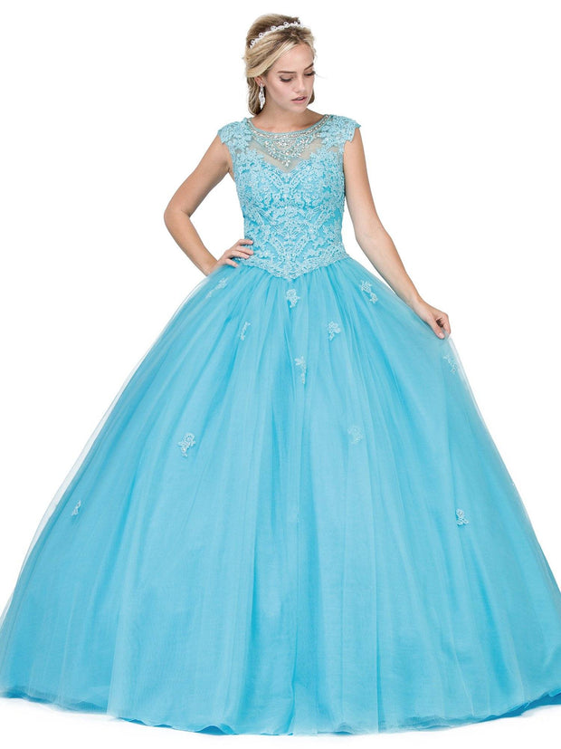 Embellished Lace Illusion Ball Gown by Dancing Queen 1223