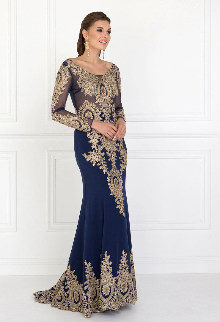 Embellished Long-Sleeve Mermaid Gown by Elizabeth K GL1597-Long Formal Dresses-ABC Fashion