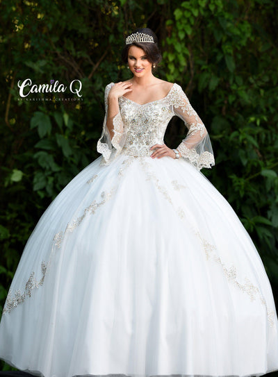 Embellished Long Sleeved Quinceanera Dress by Camila Q Q18001-Quinceanera Dresses-ABC Fashion