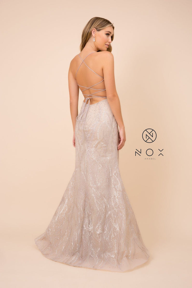 Embellished Mermaid Dress with Corset Back by Nox Anabel Y408
